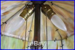 Antique Slag Bent Glass Eight Panel Table Lamp 2 Sockets Leaf Bark Details 18