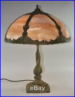 Antique Slag Glass Bent Panel Table Lamp Best Lamp Co. Chicago