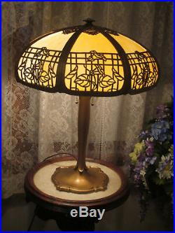 Antique Slag Glass Panel Lamp 8 Bent Panels Slag Glass Table Lamp