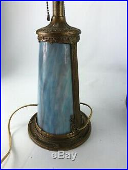Antique Slag Glass Table Lamp With Light Up Base