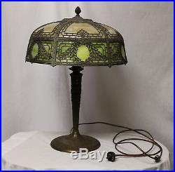 Antique Slag Glass with Metal Overlay Electric Table Lamp