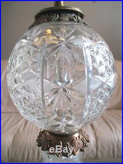 Antique Stunning Beautiful Cut Glass Banquet Parlor Table Lamp Light