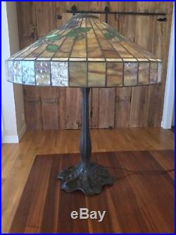 Antique Table Lamp Bronze Williamson Original 1908 Leaded Stained Glass Lamp