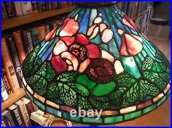 Antique Tiffany Studios Reproduction Poppy Leaded Glass Lamp Mushroom Base
