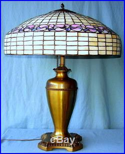 Antique Tiffany Style Leaded Glass Table Lamp with Early Pittsburgh Brass Base