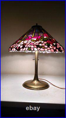 Antique Unique style Brass Trumpet Lamp for Leaded/Slag glass handel era