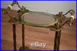 Antique Victorian Bradley & Hubbard Brass Iron Onyx Lamp Plant Fern Stand Table