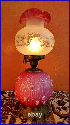 Antique Victorian Fenton Gone with the Wind Pink Hurricane Table Lamp Embossed