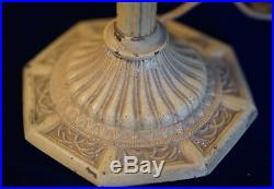 Antique Victorian Lamp Griffin Metal & Blue Slag Glass Table Lantern