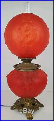 Antique Victorian Red Satin Glass Gone With The Wind Ornate Table Lamp Converted