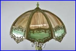 Antique Victorian Style Female Figural Bent Panel Slag Glass Table Lamp