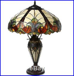 Antique Vintage Handcrafted Tiffany Style Victorian Table Lamp Stained Glass