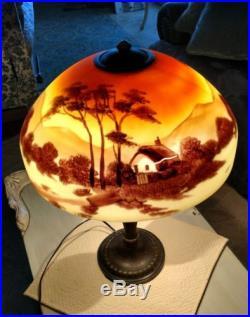 Antique/Vintage Jefferson Art Deco Reverse painted Glass Lamp bronze pot metal