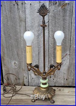 Antique Vtg Art Deco 2 Socket Table Lamp, Finial, Green Jadeite Akro Agate Glass