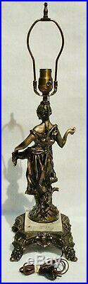Antique c1910 Art Nouveau Leaded Slag Glass Figural Woman Spelter Table Lamp