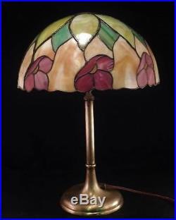 Antique c1910 Leaded & StainedSlag Glass Table LampPoppy FlowerHandel Era