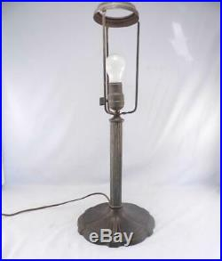 Antique c1920 Signed MILLER Table Lamp6 Panel Green Slag GlassHandel EraVGC