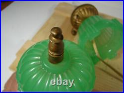 Antique c1930s Houze Glass Art Deco Dresser Nightstand Boudoir Lamp