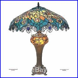 Antiqued Art Nouveau Peacock Tiffany-Style Stained Glass 25 Handmade Table Lamp