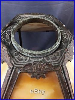 Antq Art Nouveau Pittsburgh Miller Slag Glass Lamp With Original Pottery Base