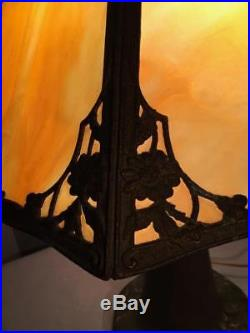 Antq Art Nouveau Pittsburgh Miller Slag Glass Lamp With Original Pottery Base