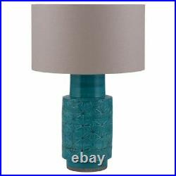 Aquamarine Tall Table Lamp Teal Base Only Etch Stoneware Retro Style