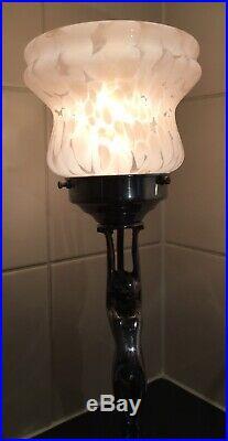 Art Deco Chrome Nude Lady Diana Table Lamp & Pink Cloud Glass Light Shade