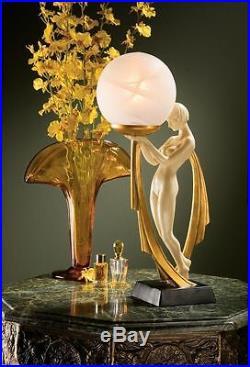 Art Deco Elegant Nude Goddess of Desiree Sculpture Desktop Lamp in Gold Leaf