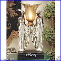 Art Deco Elegant Tabletop Torchier Peacock Maiden Table Lamp By Artist Erte