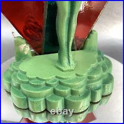 Art Deco Frankart Nude Lady 1930 Stained Glass Accent Table Lamp Woman Girl Cast