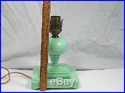 Art Deco Jadeite Boudoir Table Lamp Green Glass All Original