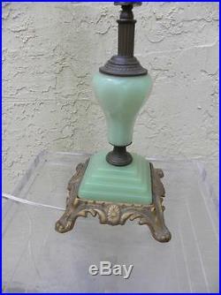 Art Deco Jadeite Green Glass & Brass Table Lamp