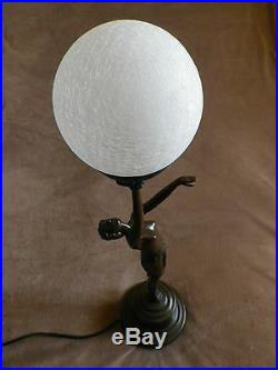Art Deco Lady Crackle Glass Globe Table Lamp / Bronze Finish Sculpture. New