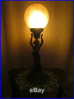 Art Deco Nouveau Lady Figural Lamp With Vintage Amber Glass Globe Light Shade