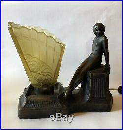 Art Deco Nude Lady Television Lamp Frosted Glass Vintage
