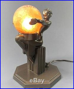 Art Deco Signed FRANKART Nude Figural Lamp withGlobe No. L261 ca. 1930s Cool Piece