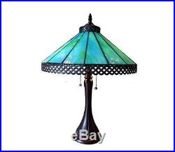 Art Glass Table Lamp Tiffany Style Stained Desk Mission Craftsman Turquoise Blue