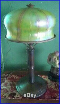 Art Glass table lamp B&H base Handel Tiffany Arts Crafts Art Deco era