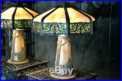 Art Nouveau Antique Lighted Base Slag Glass 8 Panel Table Lamp For Repairs