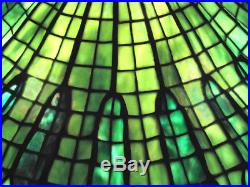 Artisan Leaded Glass Lamp With Lotus Style Shade Hand Crafted Art Nouveau