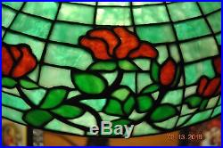 Arts&Crafts, Art Nouveau Era GorhamRed Rose Leaded Stained Slag Glass Lamp