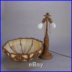 Arts & Crafts Bradley & Hubbard School Slag Glass Panel Table Lamp, circa 1920
