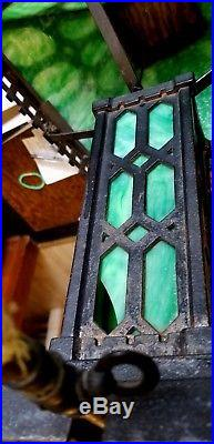 Arts & Crafts Mission Iron GAS FLAME Table/Newel Lamp Stained Glass Shade Base