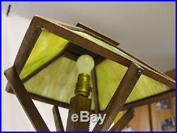 Arts & Crafts Mission Oak Slag Glass Electric Table Lamp