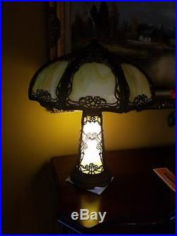 Arts & Crafts, Nouveau, B&H, Handel Era Lighthouse, Stained, Leaded Slag Glass Lamp