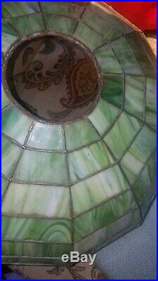 Arts & Crafts, Nouveau Leaded Stained Slag Glass Lamp Shade, circa1910. Handel Era