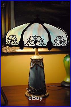 Arts&Crafts, Nouveau, Miller, Handel Era Lighthouse, Stained, Leaded Slag Glass Lamp