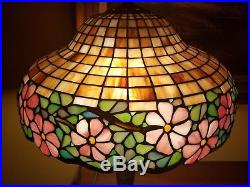 Arts&Crafts, Nouveau, Signed Handel Leaded Stained Slag Glass Mushroom Table Lamp