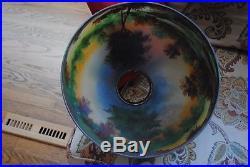 Arts&Crafts, Nouveau, Signed Handel Reverse Painted Art Glass Table Lamp