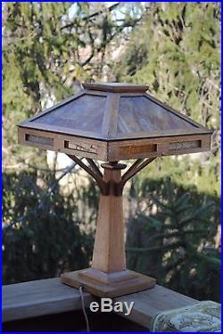 Arts & Crafts Stickley, Mission, Brown, Craftsman Era Oak Stained Slag Glass Lamp